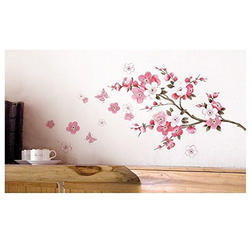 Gracious Adhesive Rooms Walls Vinyl Diy Stickers Murals Decals Tattoos With Pink Blooming Japane Cherry Blossom Decor Dandelion Wall Art Vinyl Wall Stickers