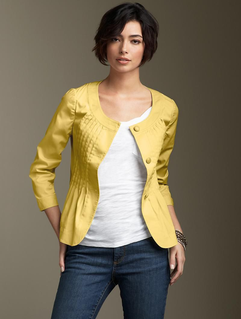 The perfect throw over everything jacket for me.  Love the pintucks.