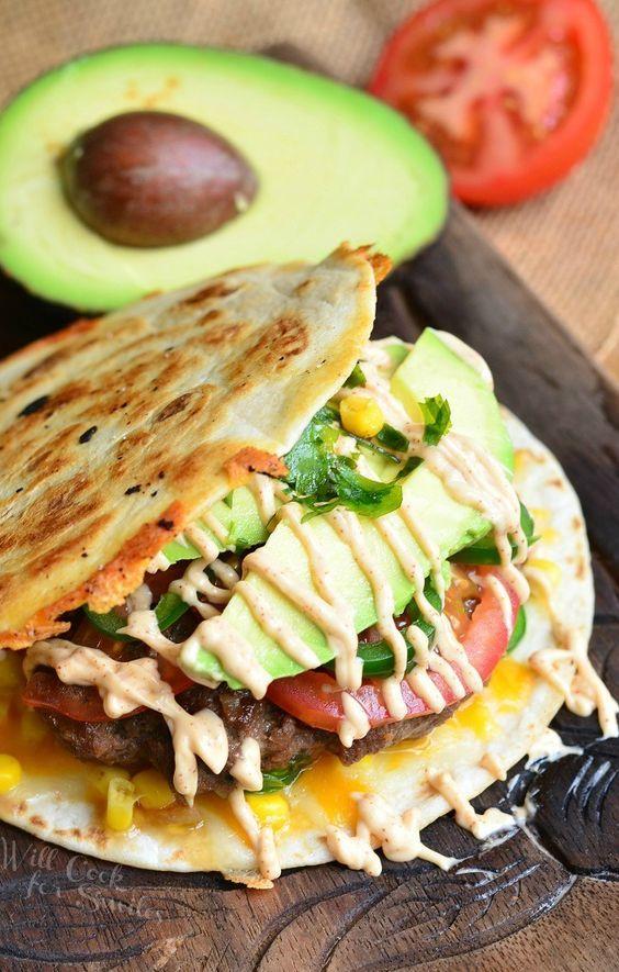 Tasty Tuesday Quesadilla Burger follow link for recipe: http://www.willcookforsmiles.com/2015/05/quesadilla-burger.html