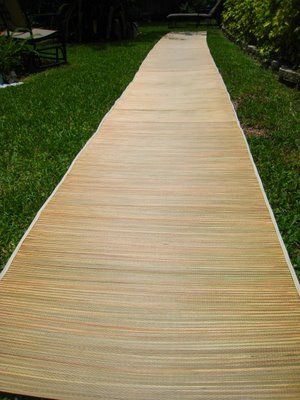 Dollar Beach Mats Transformed To An Outdoor Wedding Aisle With A Bit Of Hand Sewing And Hot Glue Attach Them Side By Instead End For