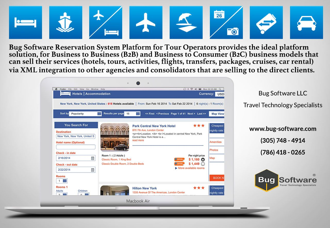 Bug Software LLC platform for Tour Operators provides the ideal platform solution, for Business to Business (B2B) and Business to Consumer (B2C) business models that can sell their services (hotels, tours, activities, flights, transfers, packages, cruises, car rental) via XML integration to other agencies and consolidators that are selling to the direct clients.  http://www.bug-software.com/