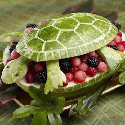 interesting ideas fruit bowl. Using the Watermelon as a base  you can create bowl to serve Fruit salad in The turtle was pretty cute idea Cute watermelon fruit cutout Summer recipes Pinterest