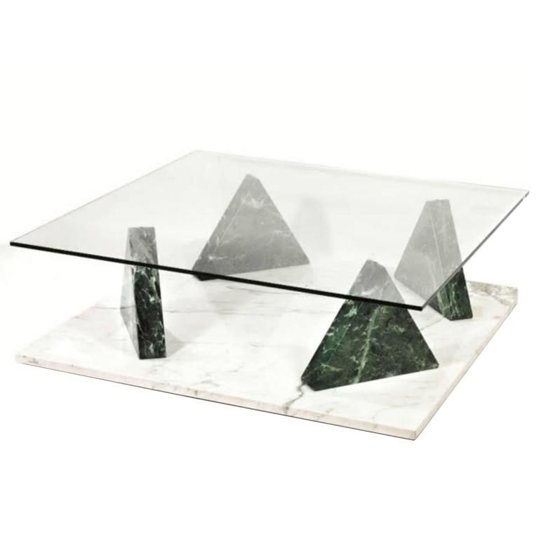 Ettore Sottsass Jaipur Coffee Table Marble Base With Glass Top