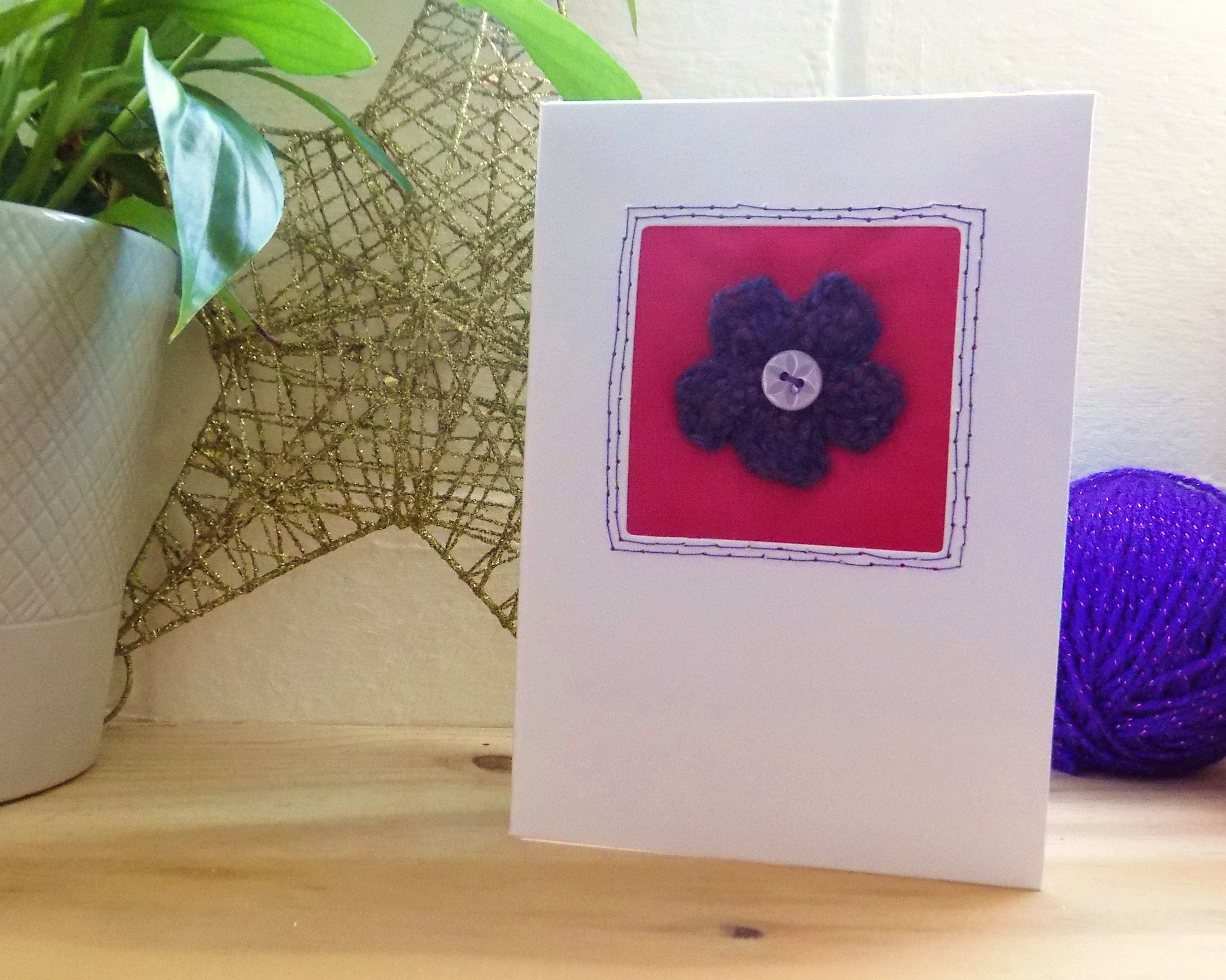Knitted flower card purple pink flower card thank you card knitted flower card purple pink flower card thank you card birthday card izmirmasajfo