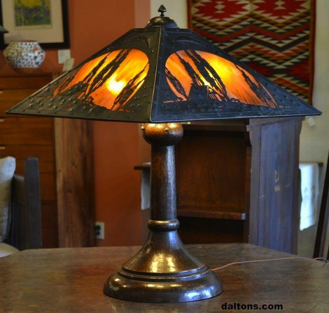Charles Limbert Table Lamp 28 H X 22 Square Daltons Com Art Nouveau Lamps Craftsman Lamps Art Deco Lamps
