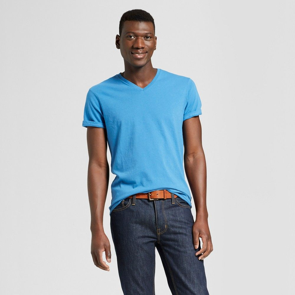 17afad8ce28d Men's Standard Fit Short Sleeve V-Neck T-Shirt - Goodfellow & Co Blue Beam  M Gender: Male. Age Group: Adult. Pattern: Solid. Material: Cotton.