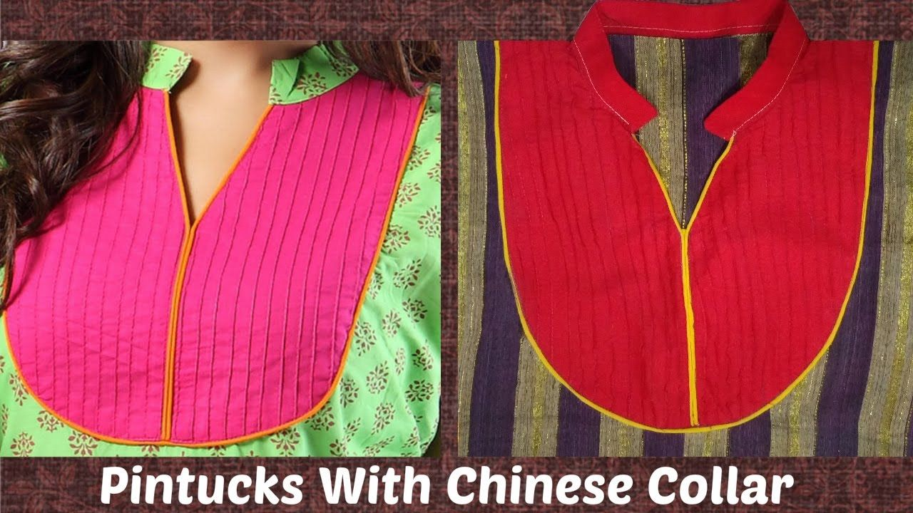 f218f43a4 How To Cut And Stitch Pintucks Neckline With Chinese Collar | Piping -  YouTube