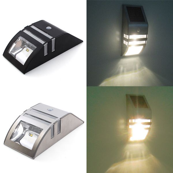 Stainless steel solar power highlight led pir induction wall light solar power motion sensor super bright led light garden wall pir lamp mozeypictures Images