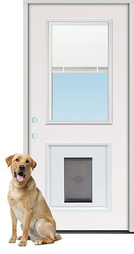 28 Miniblind Half Lite Steel Prehung Door Unit With Pet Door