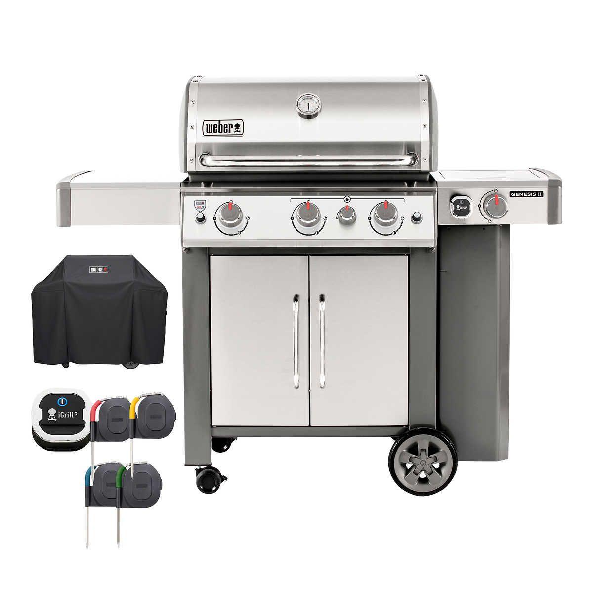 Weber Genesis Ii S 345 3 Burner Gas Grill In 2020 Gas Grill 3 Burner Gas Grill Stainless Steel Rod