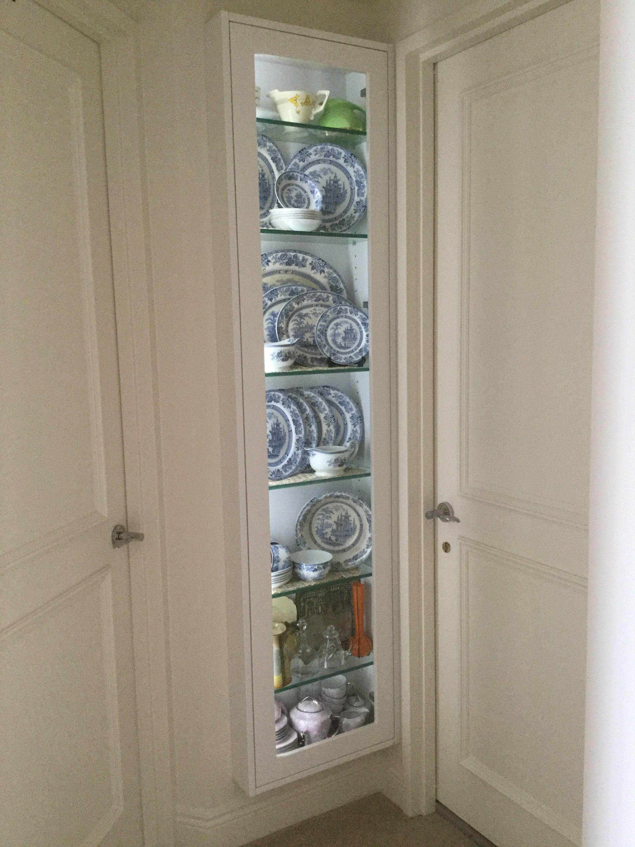 My New China Cabinet For A Small Apartment Built As A Wall Niche Cabinet Between Wall Studs To Display My Small China Cabinet Wall Niche Bungalow Living Rooms