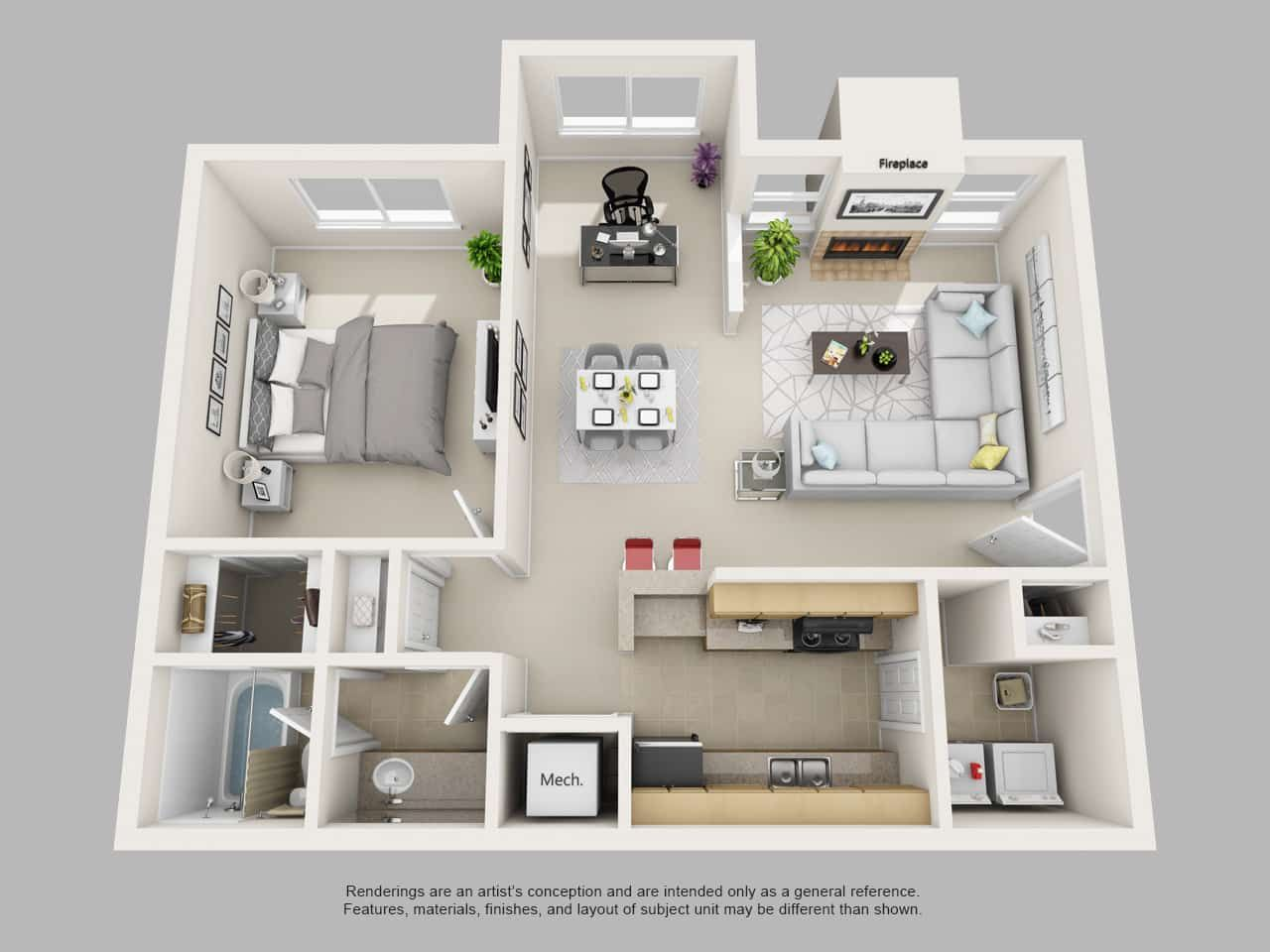 Image Result For 1 Bedroom 3d Floor Plan First Place In