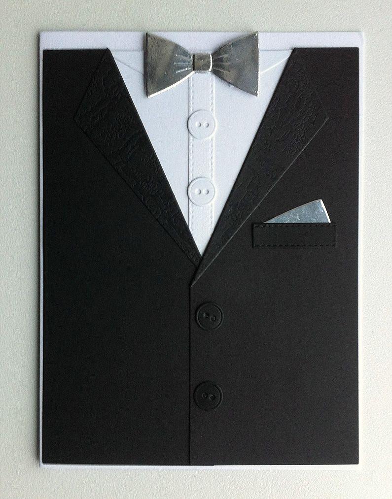Card for men masculine MFT suit and tie Die-namics, Tuxedo bowtie silver, new year newyears christmas celebration card anniversary - kort til mænd herre nytår jul fest sølvbryllup - JKE