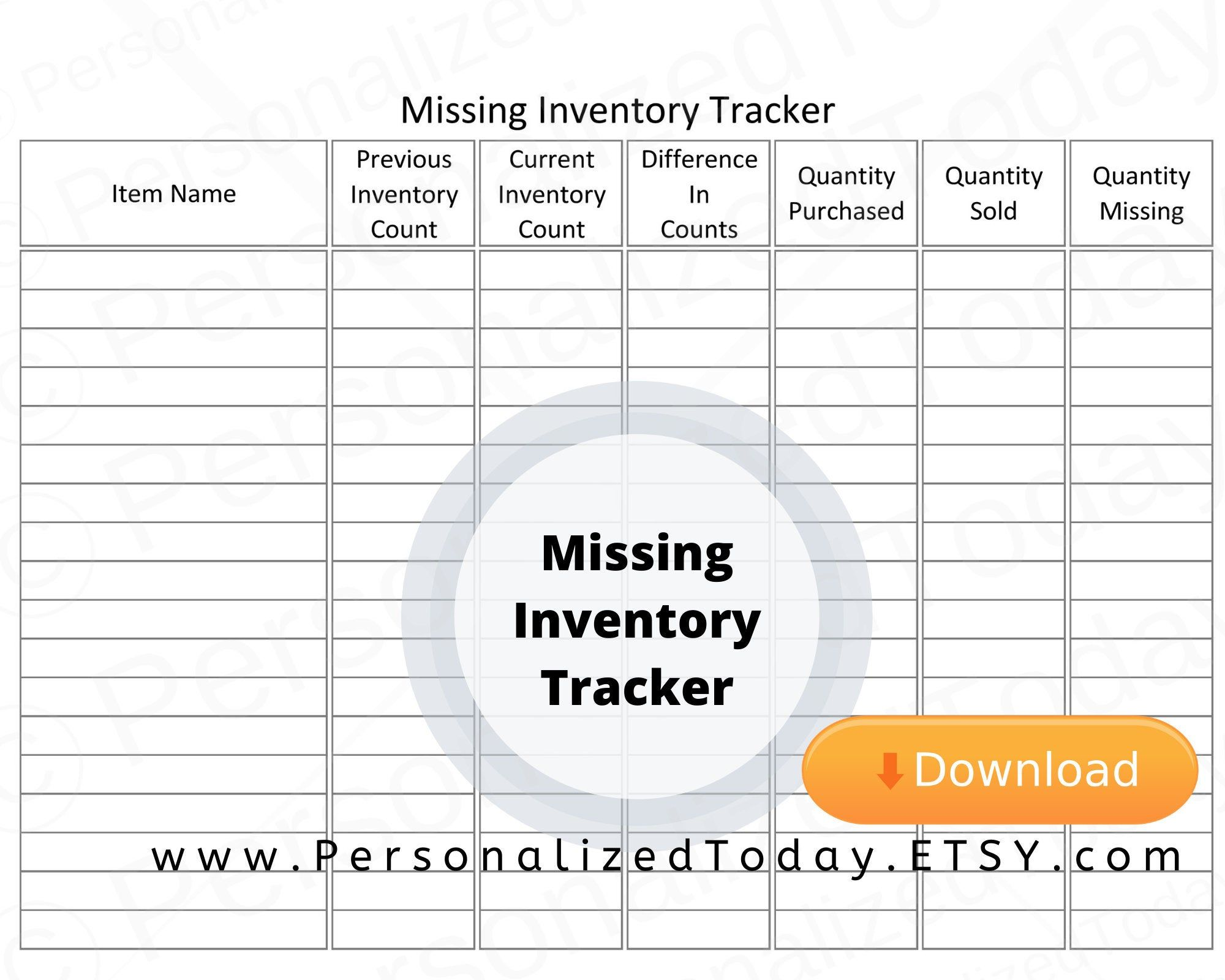 Printable Missing Inventory Worksheet PDF Digital Download