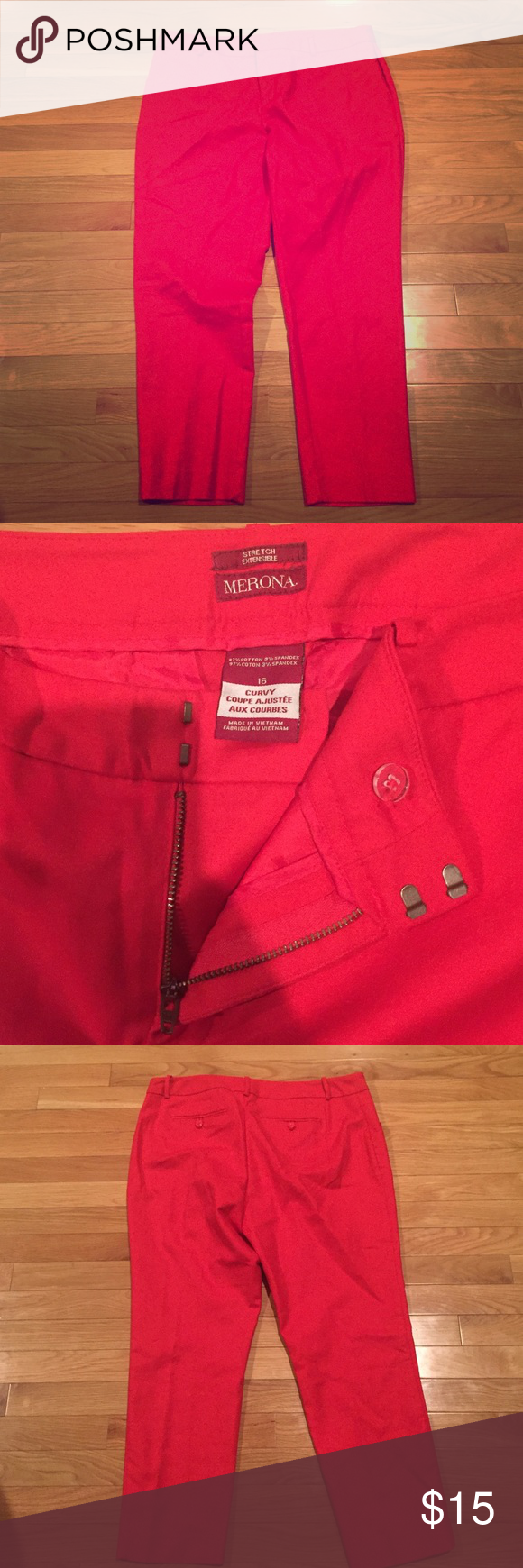 """Red crop pants Red crop pants. Women size 16. NWOT. 26"""" inseam Merona Pants Ankle & Cropped"""