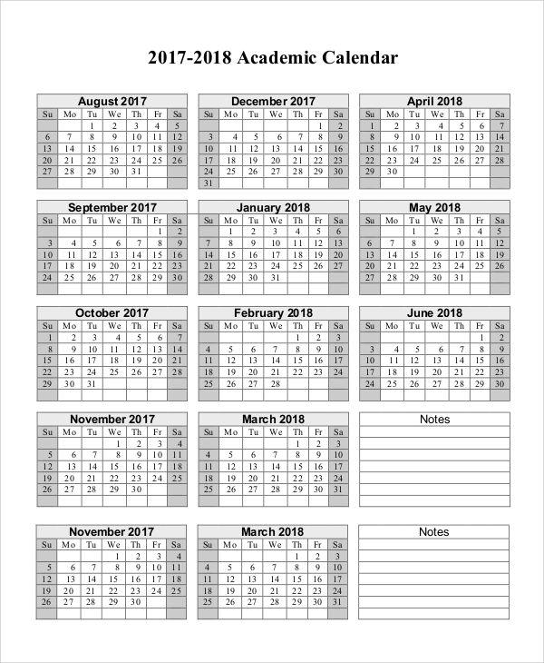 academic year calendar templates