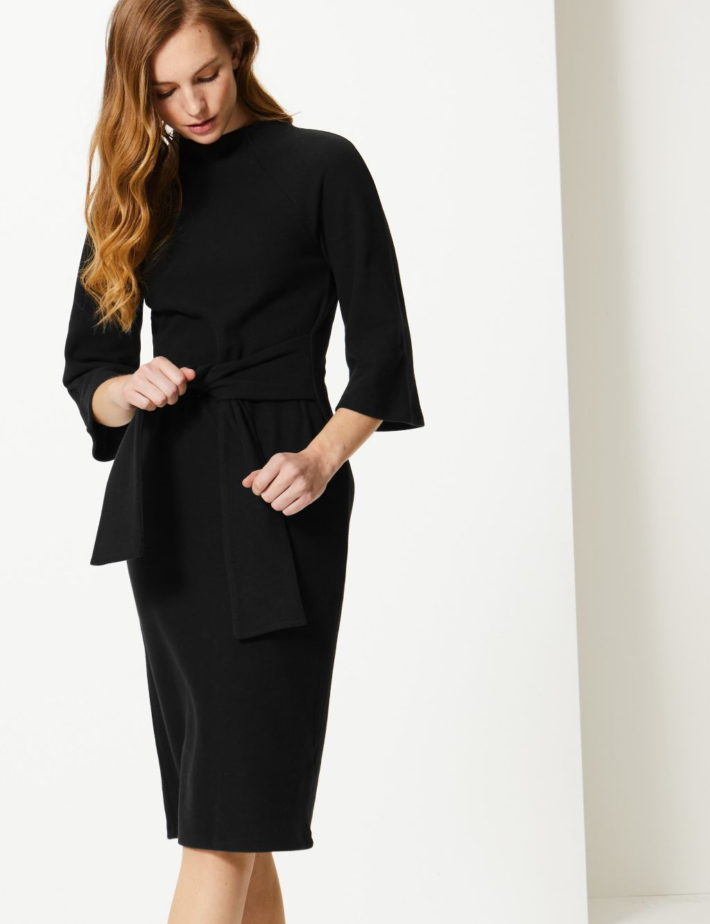Tie Front 3 4 Sleeve Shift Dress M S Collection M S Long Sleeve Shift Dress Shift Dress Dresses [ 1332 x 1024 Pixel ]