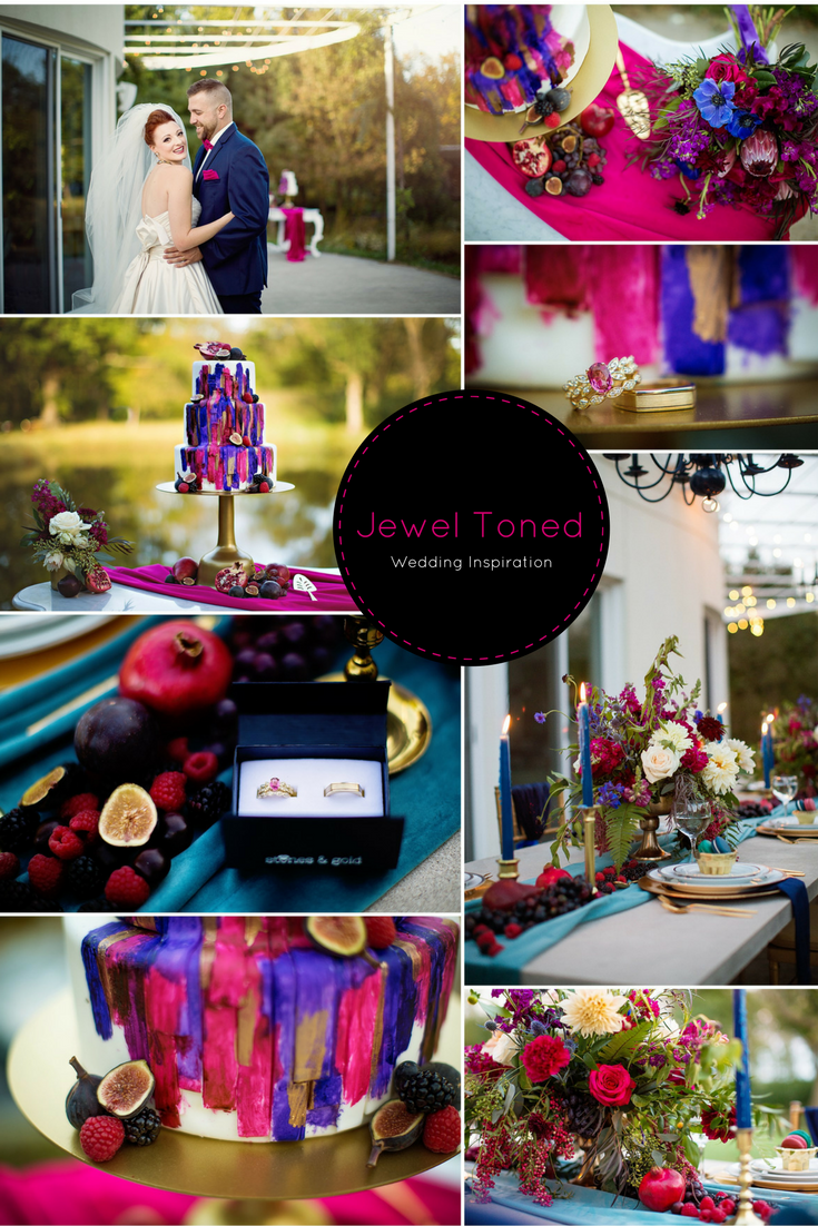 Jewel toned styled wedding inspiration at the prairie glass house in urbana il jeweltonewedding jewel tone wedding inspiration berries modern lush