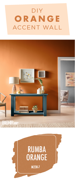 The Rich Orange Color Of Rumba By Behr Paint Is Perfect Choice For This Diy Accent Wall A Fun Addition To Any Neutral Palette