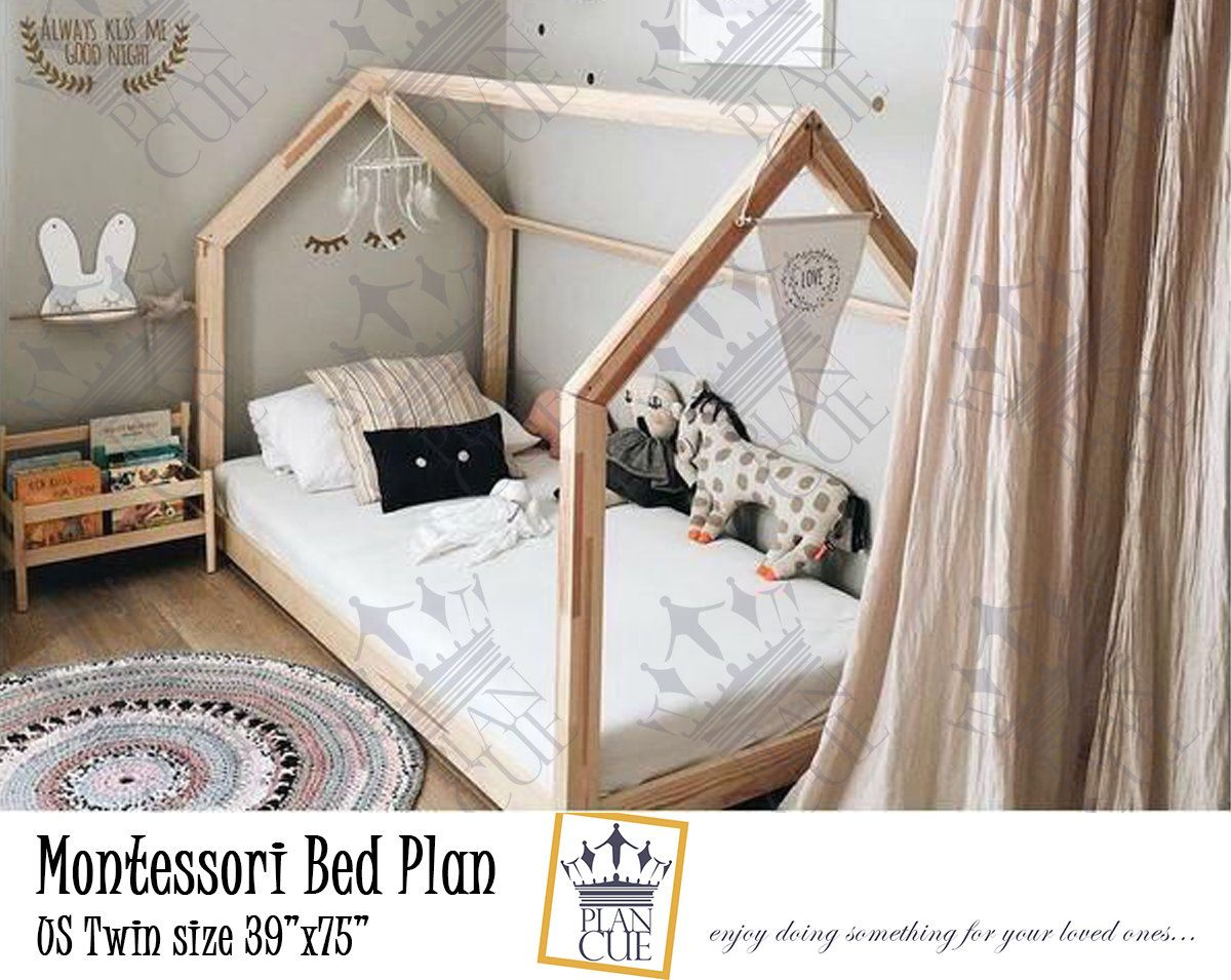 Toddler House Bed Plan Queen Bed Kid Bed Montessori Bed Twin