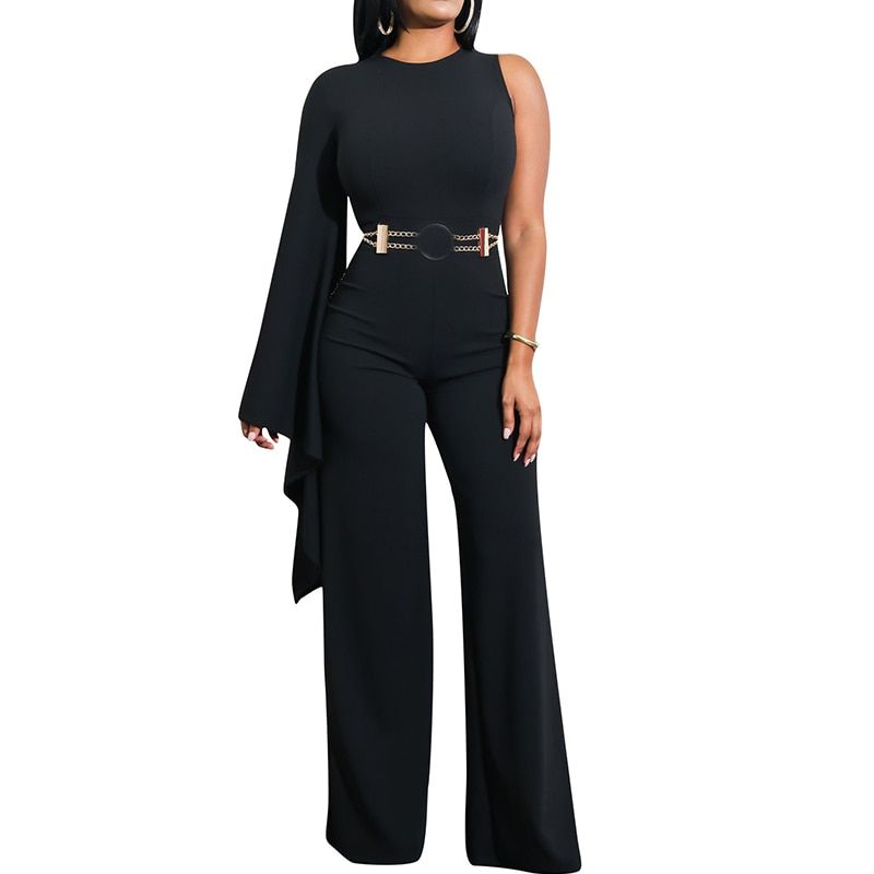 Aliexpress.com : Buy One Shoulder Black Wide Leg Jumpsuit Women ... Aliexpress.com : Buy One Shoulder Black Wide Leg Jumpsuit Women ... Woman Jumpsuits black jumpsuite flared leg for woman