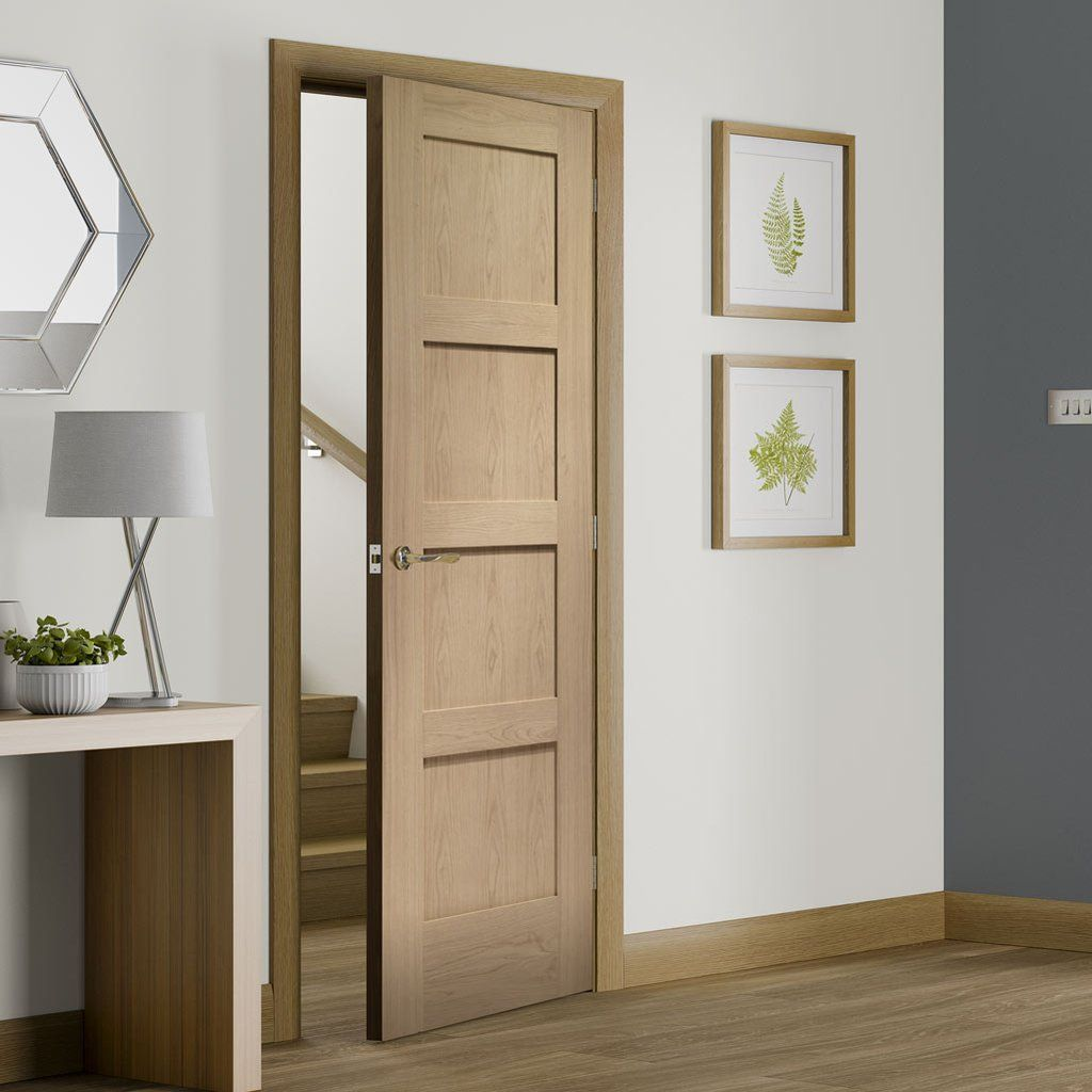 Bespoke Shaker 4 Panel Oak Fire Door 1 2 Hour Fire Rated Paneldoor Shakerdoor Interiordeoor Bespokedoor Fired Oak Fire Doors Oak Doors Elegant Doors