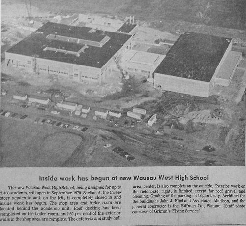 Nov 12 1969 An Aerial Photo Of Wausau West High School Under