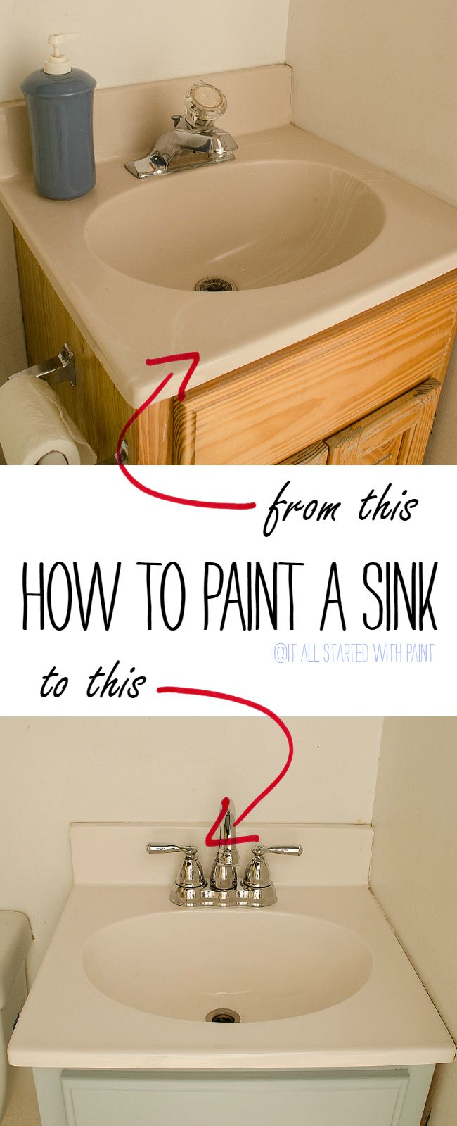 Paint Your Sink It All Started With Paint Painting A Sink Diy Bathroom Top Bathroom Design [ 1600 x 650 Pixel ]