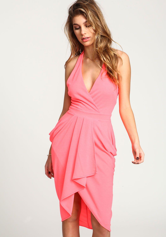 Neon pink plunge wrap halter dress love culture junior