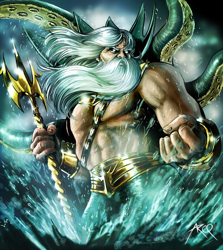 Poseidon Sketch Card - Rhiannon Owens | Mythology - Poseidon ...