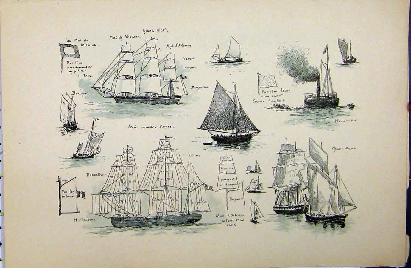vintage ship 19 antique print of c1889 french sailing ships