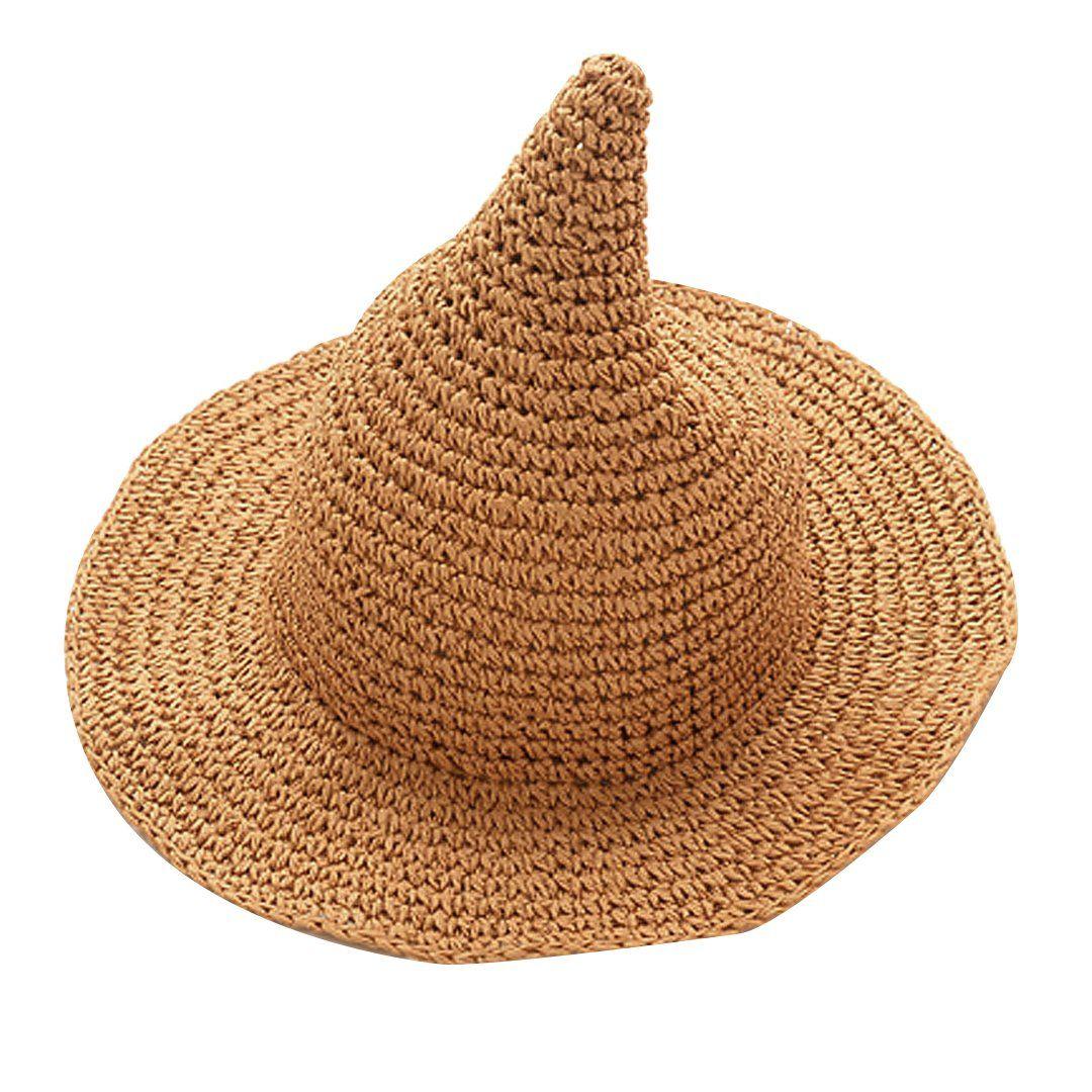 2291c0e188dbc Monique Kids Cute Spire Witch Straw Sun Hat Wide Brim Sun Visor Cap for  Beach Party