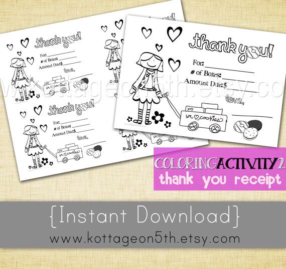 Sale Coloring Page 2 Thank You Card For Girls Scout Cookie
