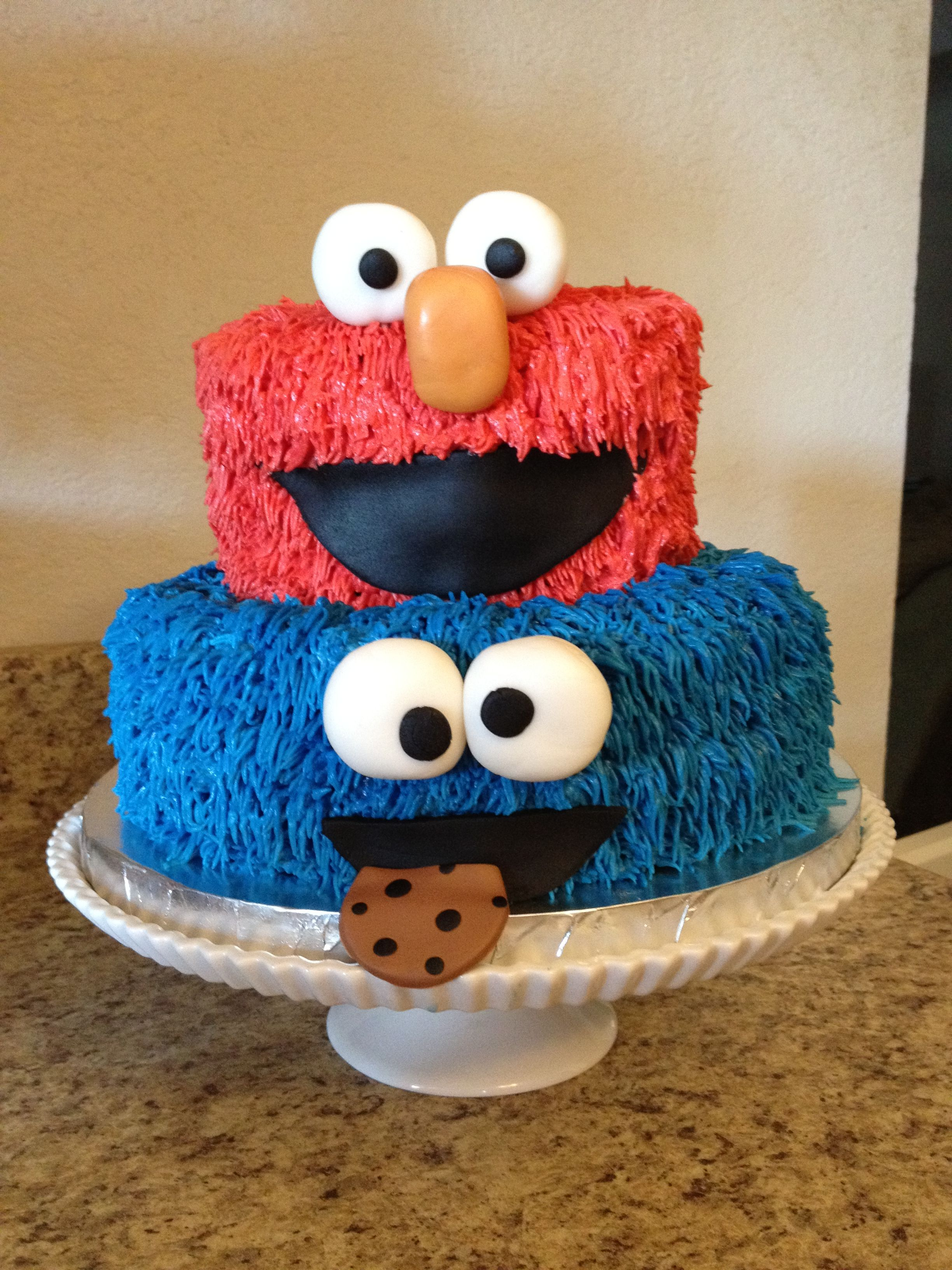 Sesame Street Cake Elmo And Cookie Monster Birthday Cake
