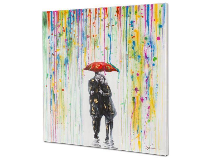 Cuadro leo sobre lienzo de pareja bajo la lluvia de - Cuadros de besos ...