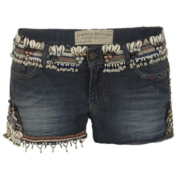 Embellished Zingtac Water Lowe ($125) ❤ liked on Polyvore featuring shorts, bottoms, pants, short, women, hot shorts, short hot pants, black short shorts, micro short shorts and embroidered shorts