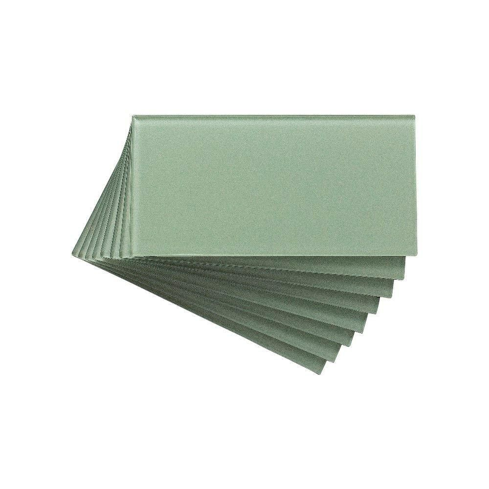 Aspect 3 in. x 6 in. Glass Decorative Wall Tile in Frost (8-Pack) - A50-63 - The Home Depot