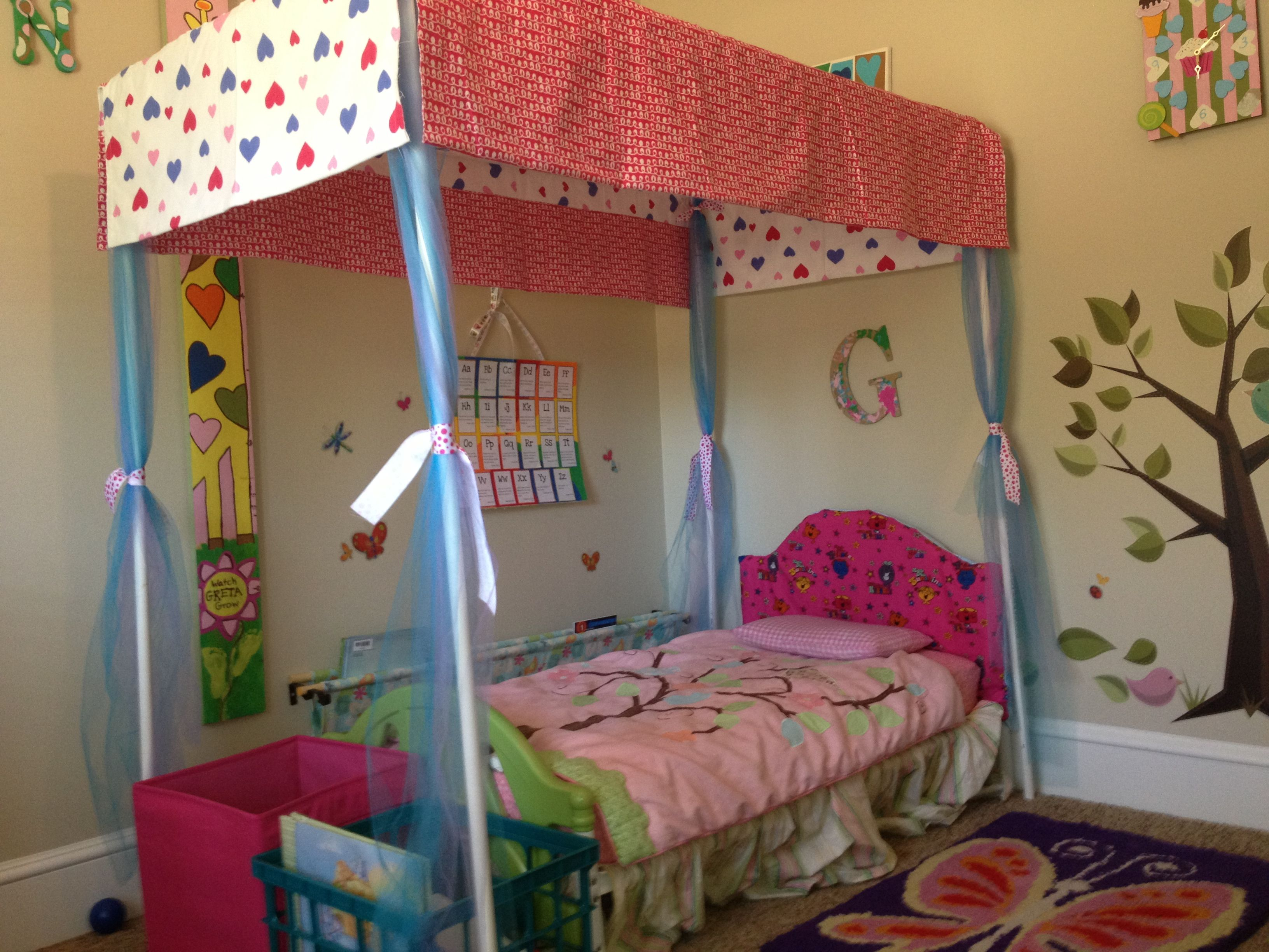 PVC pipe canopy toddler bed : canopy mattress topper - memphite.com