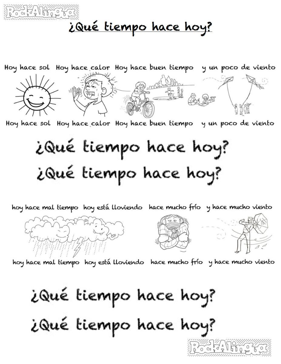Downloadable coloring sheet for the Spanish weather song by – Spanish Weather Worksheet
