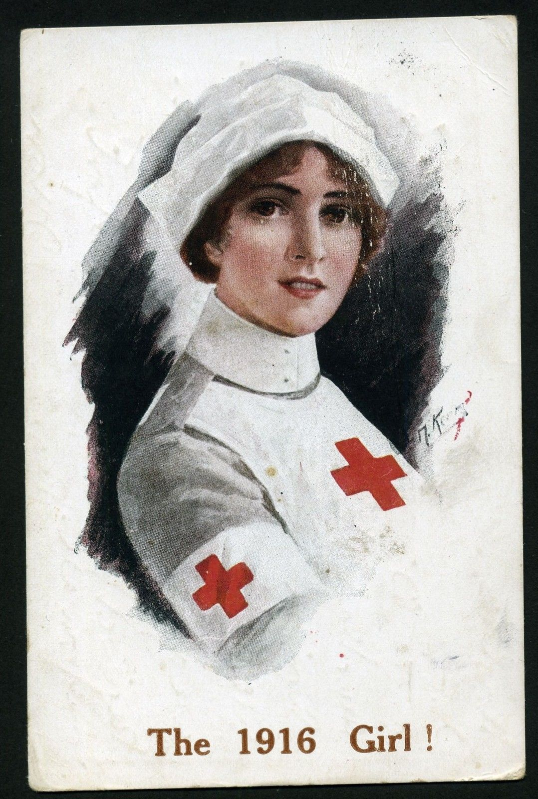 Old Postcard.. Ww1 The 1916 Girl. Red Cross Nurse. E .Mack in ...
