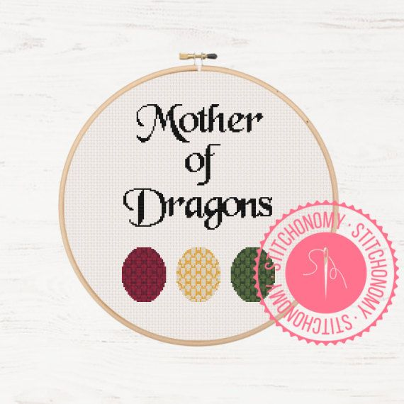 Mother's Day Game of Thrones Digital Download Cross Stitch Pattern Daenerys Targaryen Mother of Dragons by Stitchonomy on Etsy