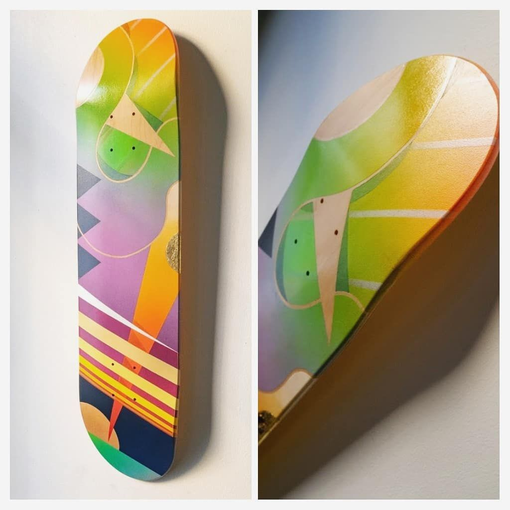 Spray Paint On Skate Deck With Gloss Accents And Gold Leaf