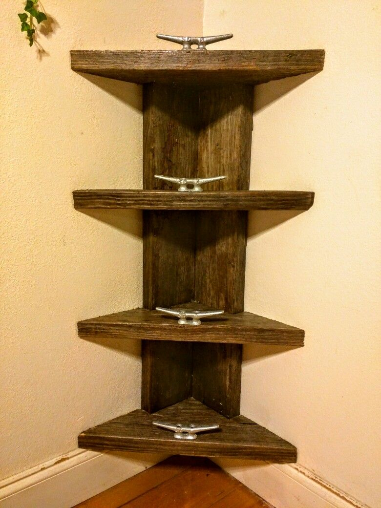 Corner shelf from reclaimed wood and dock cleats https://m.facebook ...