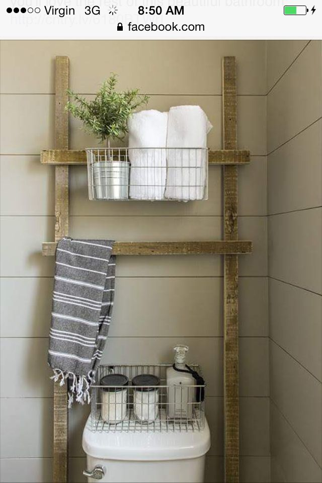 Rustic Ladder Shelf Over Toilet