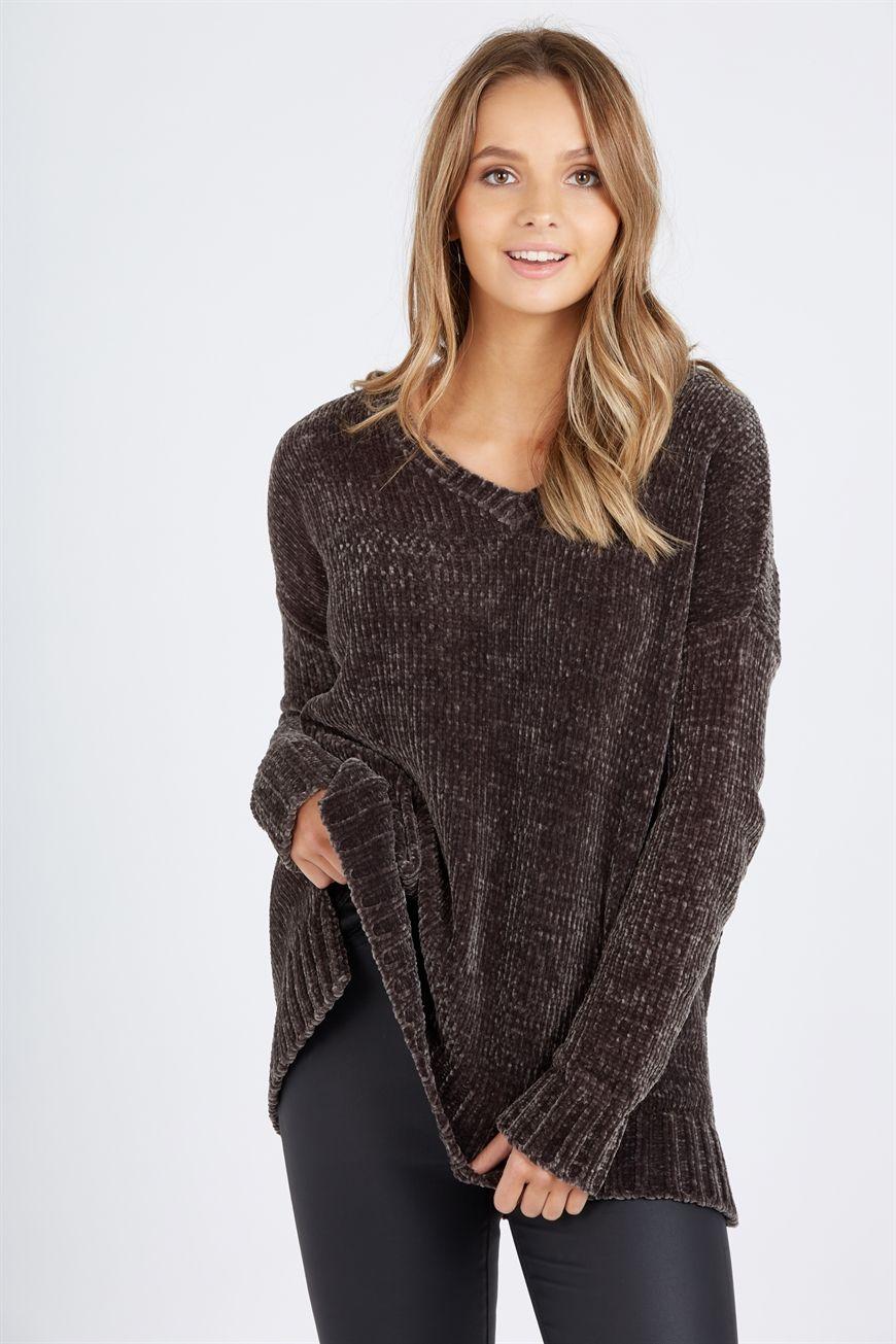 756c9023983d Chenille V Neck Longline Knit Sweater  br   br  Our Chenille V Neck ...