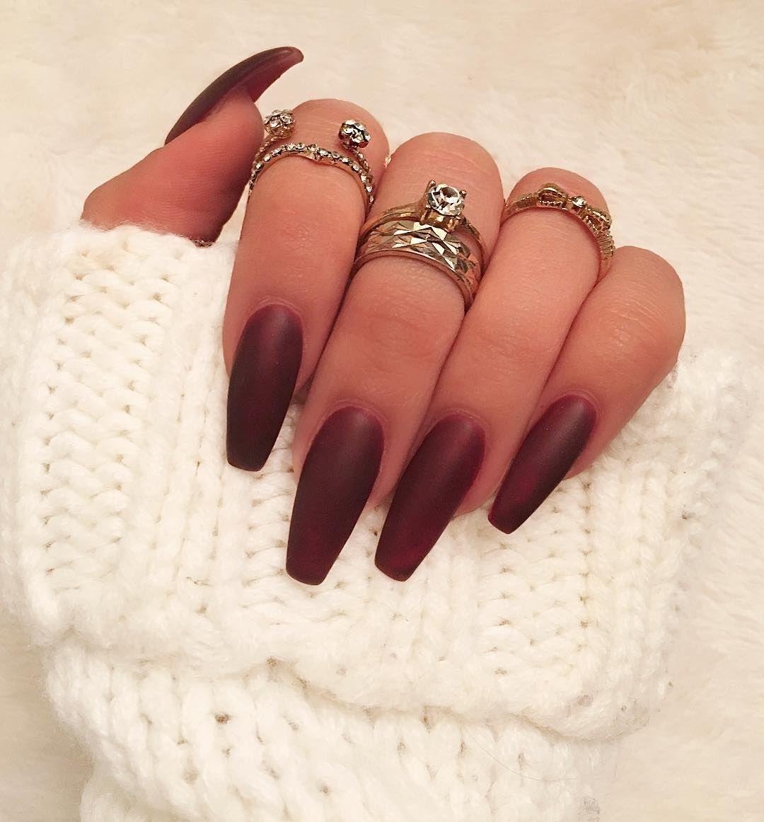 Holiday Nails Nails Burgundy Matte Ballerina Rings Gold
