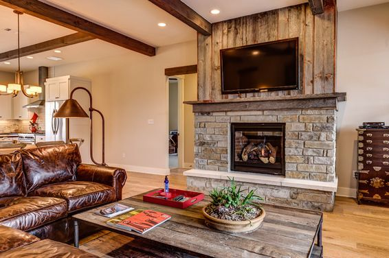 Barn wood fireplace fireplace using reclaimed barn wood - Stone and wood fireplace ...
