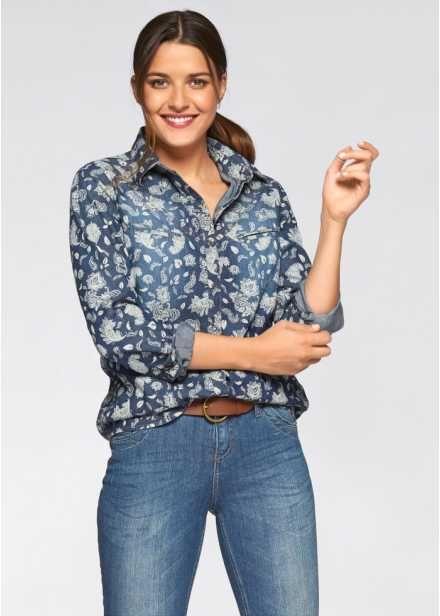 f56f269aed068fb Джинсовая рубашка с длинными рукавами, John Baner JEANSWEAR, синий/белый с  рисунком