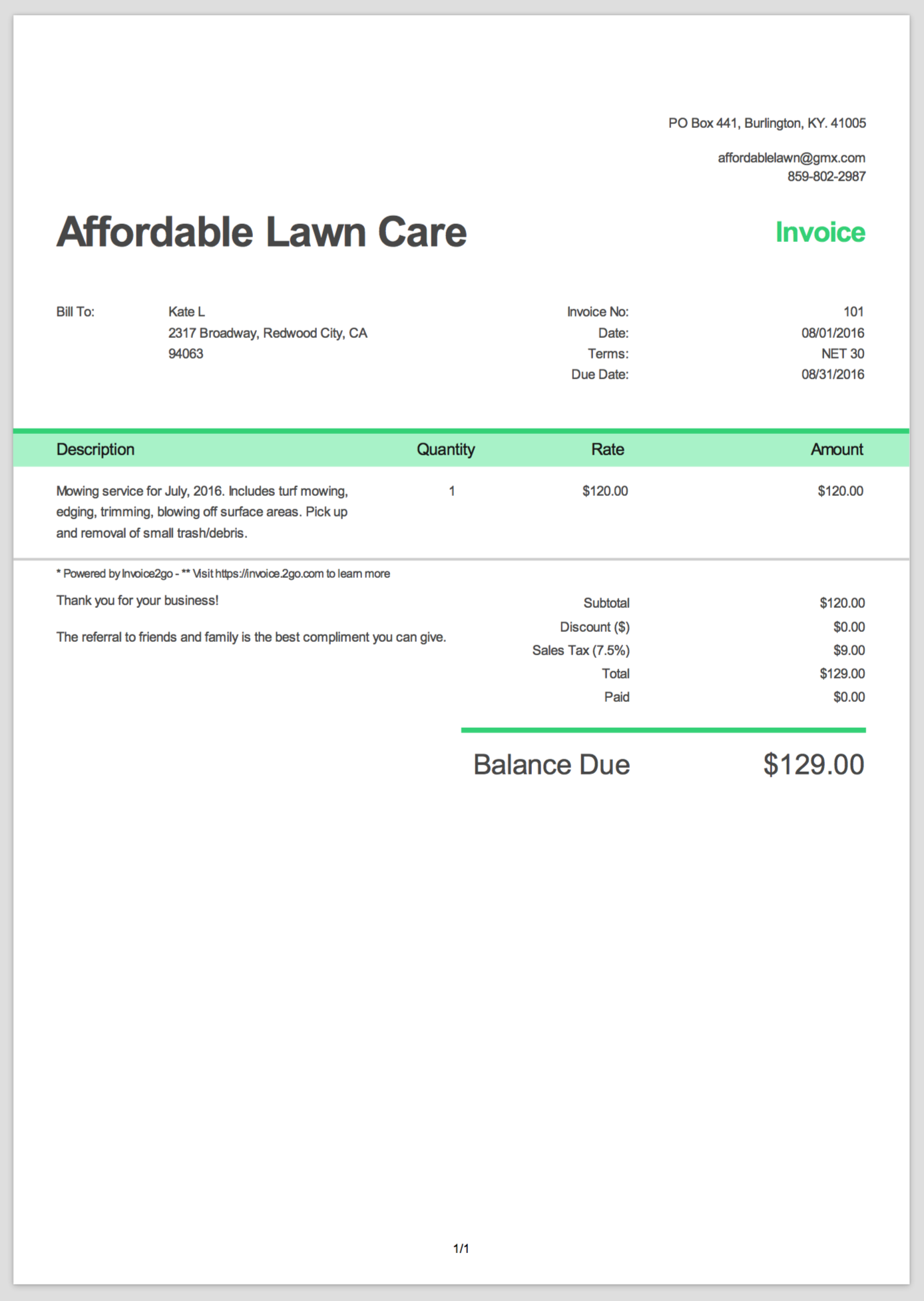 Example Of A Invoice Template