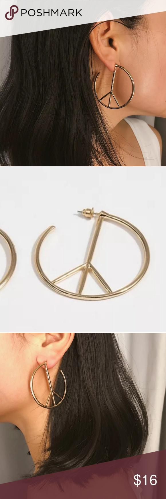 Download Gold Peace Sign Symbol Hoop Earrings | Hoop earrings ...
